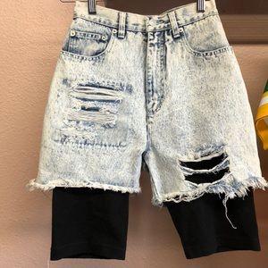 Vintage 80s Acid Distressed Short Leggings